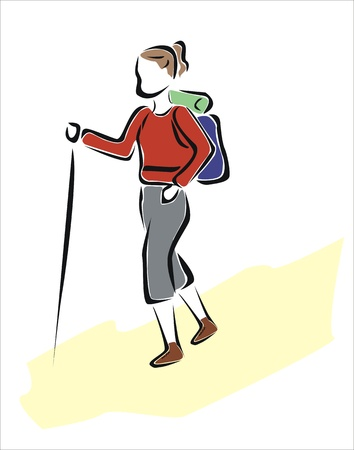 walking stick: drawing of a woman hiking Illustration