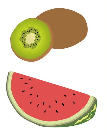 drawing of a kiwi and a watermelon Illustration
