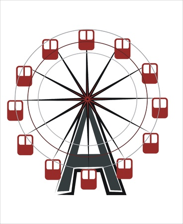 ferriswheel: drawing of a ferriswheel attraction Illustration