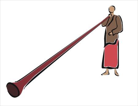 a tibetan monk playing an instrument Stock Vector - 24092526