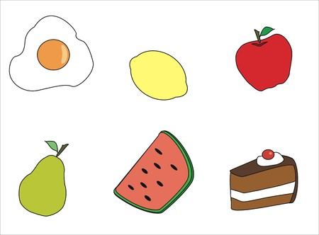 glace: drawing of a various fruits and others Illustration