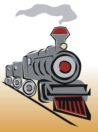 steam engines: drawing of an old locomotive
