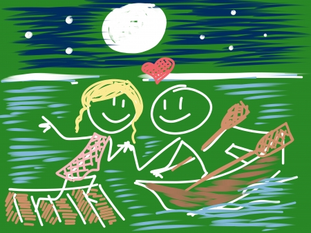 duet: a couple of doodle in love Stock Photo
