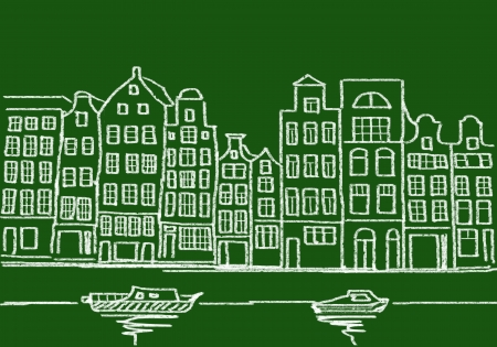 typical: drawing of typical architecture from amsterdam