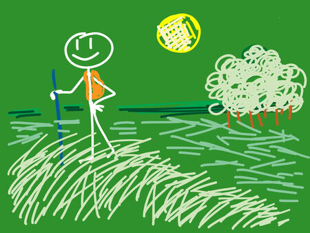 a doodle walking in country Stock Photo