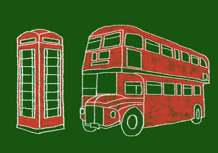 typical: typical bus and telephone from london Stock Photo