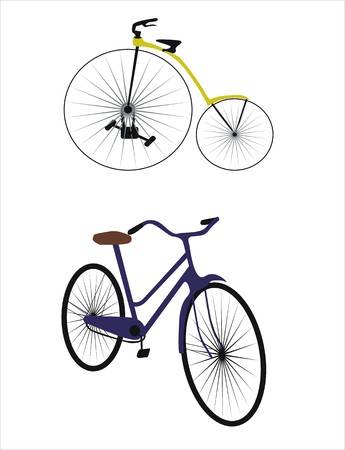 pedaling: two different bikes from different ages Illustration