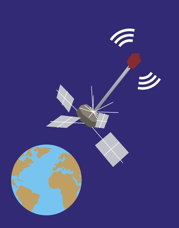 emit: a satellite floating in the space Illustration