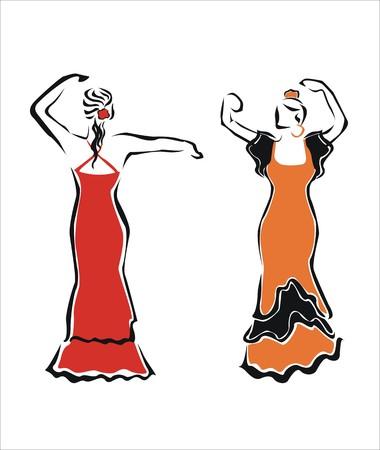 castanets: two girls dancing together in seville Illustration