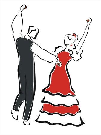 bailando flamenco: hombre y mujer bailando juntos