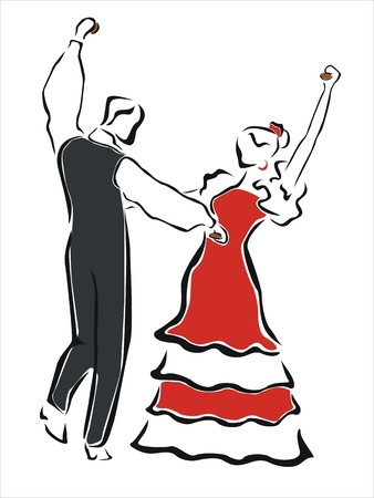 gypsy: man and woman dancing together Illustration