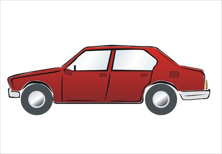 domestic garage: drawing of a red car