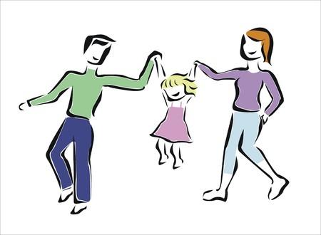 親の女の子と遊ぶ  イラスト・ベクター素材