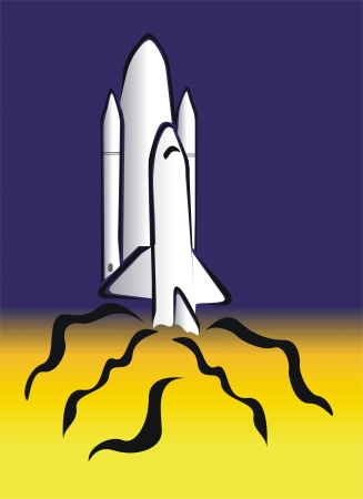 explosion engine: drawing of a space rocket Illustration