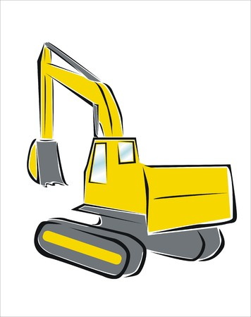 drawing of a yellow excavator Stock Vector - 24198152