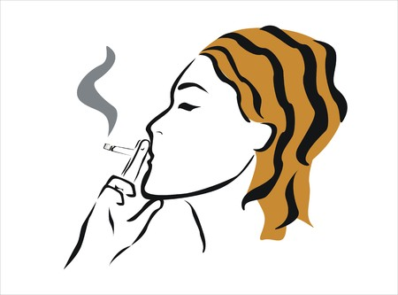 drawing of a girl smoking