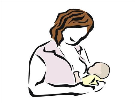 descendants: smiling woman breastfeeding her newborn Illustration