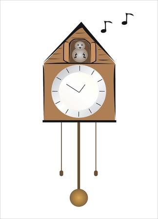 cuckoo clock: drawing of a clock with cuckoo Illustration