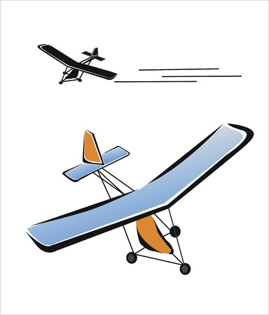 drawing of a microlight flying Illustration