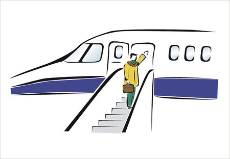 farewell: man traveling in a plane Illustration