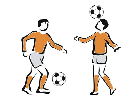 dodge: two boys playing football together Illustration