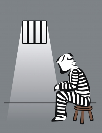 convict: drawing of a prisoner in prison Illustration