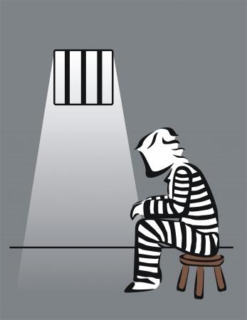 confine: drawing of a prisoner in prison Illustration