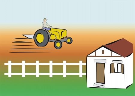 verdant: man working with a tractor Illustration