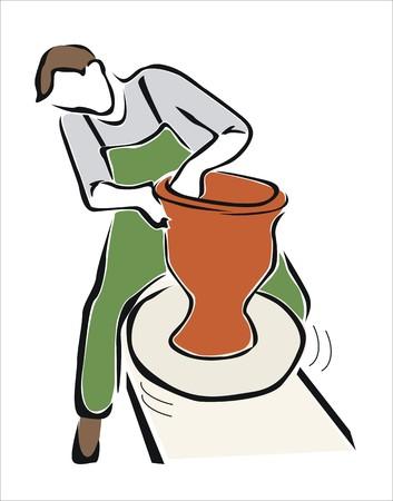 alfarero: dibujo de un alfarero trabaja