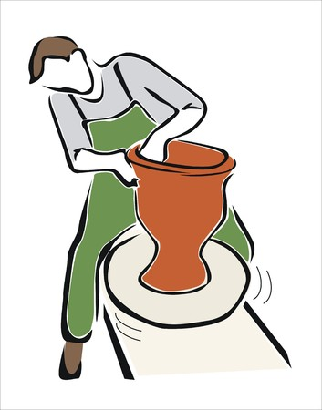 drawing of a potter working Illustration