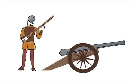 tekening van een soldaat met een kanon Vector Illustratie