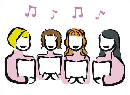 drawing of a chorus singing