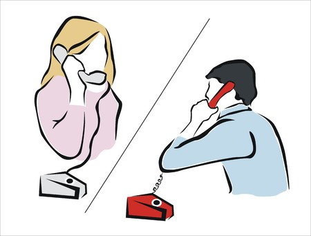 emitter: two persons talking with telephones