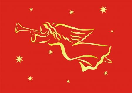 fanfare: golden angel over red background