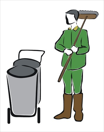 disinfect: drawing of a sweeper with bins Illustration