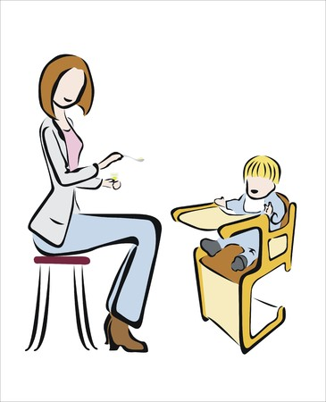 highchair: mother feeding her baby in a highchair Illustration