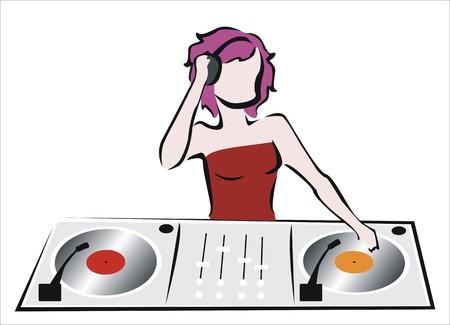 disk jockey: drawing of a disk jockey working Illustration