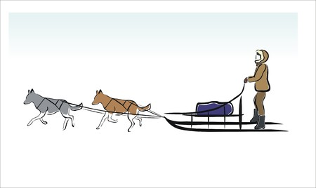 sled dogs: drawing of a sled dogs in the snow Illustration