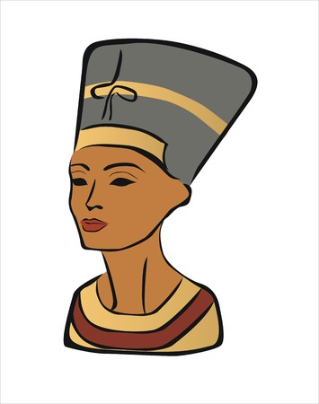 relic: drawing of nefertiti, beautiful woman Illustration