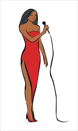 lyric: singer with a red dress Illustration