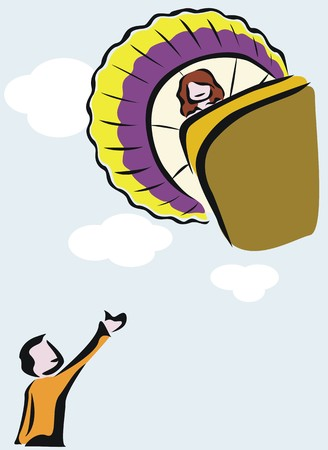 aeronautical: a girl flying in a hot air balloon