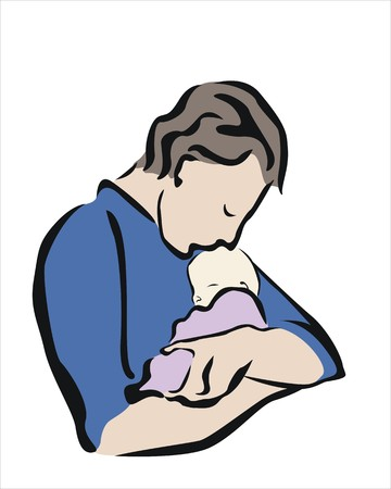 paternity: a father embracing and kissing his baby