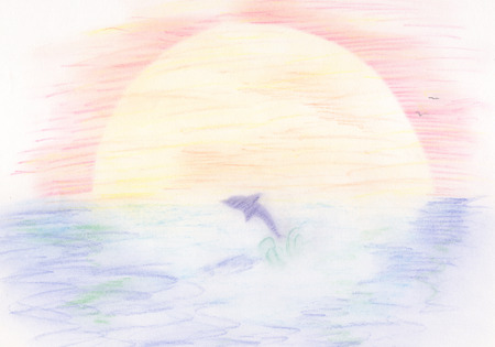 drawing of a dolphin jumping in the sea