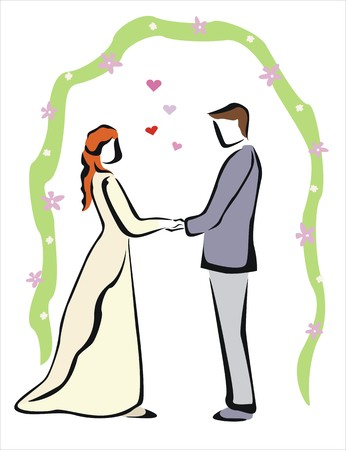 duet: drawing of a happy wedding