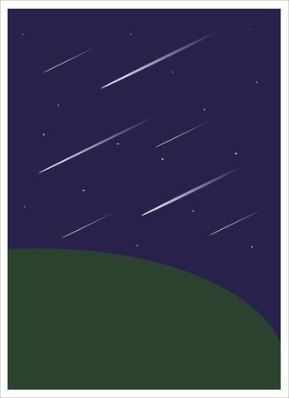 meteor shower: meteor shower in dark night