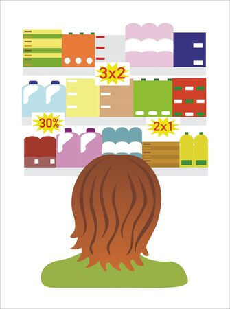 woman seeing offers in supermarket Illustration