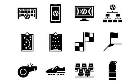 Set of Football Icons Glyph Style Vol 4. Enjoy this set for your project.