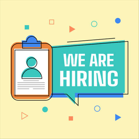 We are Hiring Banner with Cliboard