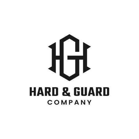 Monogram Initial Letter HG GH Hexagon Simple Elegant Minimalist Retro Vintage Logo Design Logó