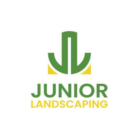 Monogram Letter Initial JL LJ for Junior Landscaping Logo Design Template. Suitable for General Landscape Real Estate Finance Company Business Corporate Brand Simple Modern Logo Design. Logo